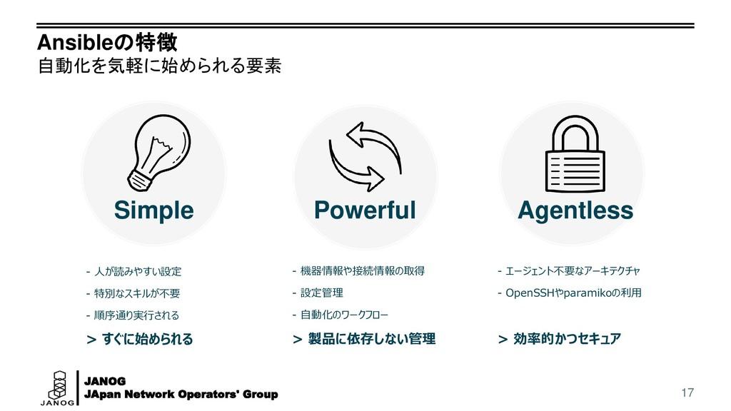 JANOG JApan Network Operators' Group Ansibleの特徴...