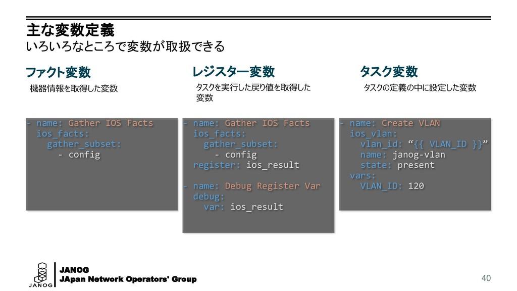 JANOG JApan Network Operators' Group 主な変数定義 いろい...