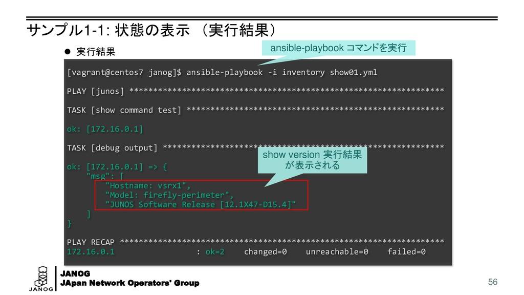 JANOG JApan Network Operators' Group サンプル1-1: 状...