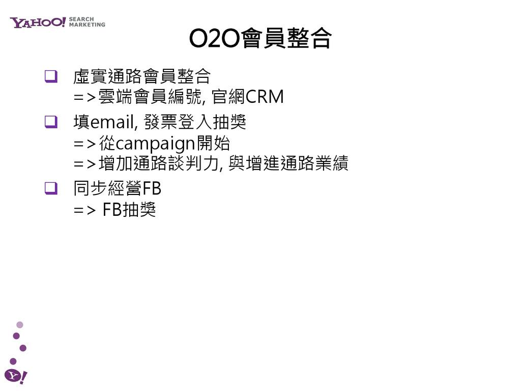 ! 虛實通路會員整合 =>雲端會員編號, 官網CRM ! 填email, 發票登入抽獎 ...