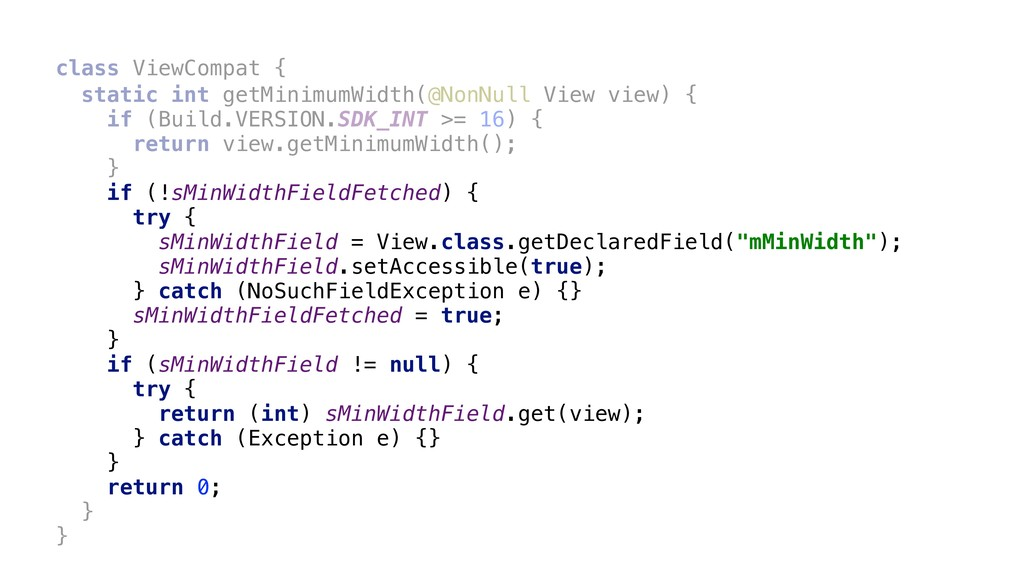 class ViewCompat { static int getMinimumWidth(@...