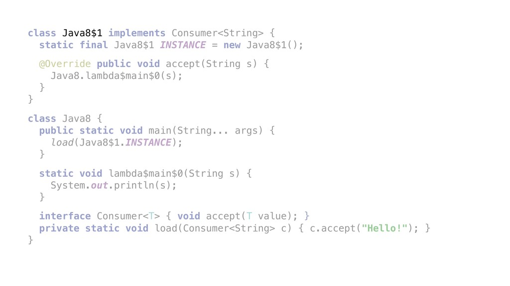class Java8$1 implements Consumer<String> { sta...