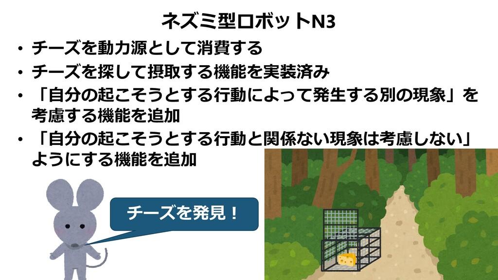 ネズミ型ロボットN3 • チーズを動力源として消費する • チーズを探して摂取する機能を実装済...