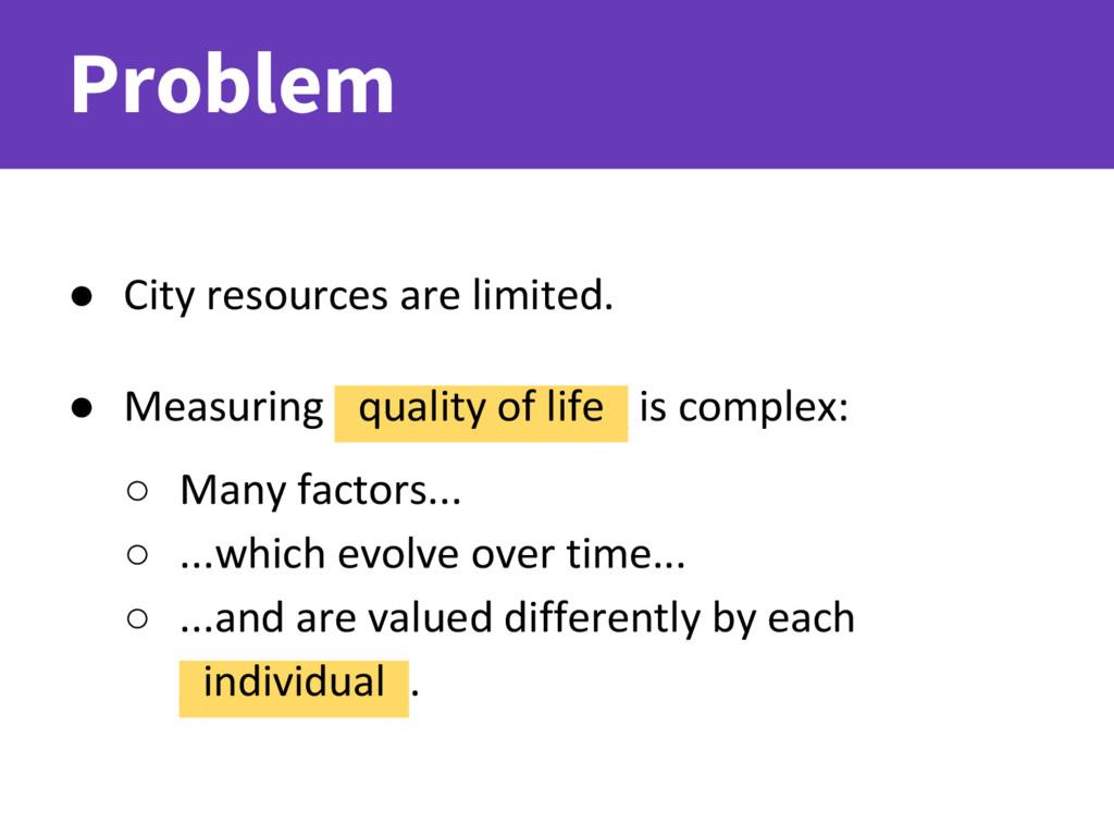 Problem ● City resources are limited. ● Measuri...