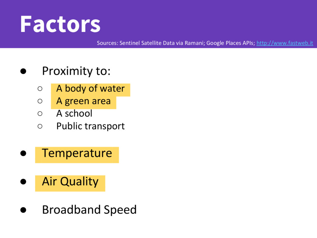 Factors ● _Proximity to: ○ _ ○ _A body of water...