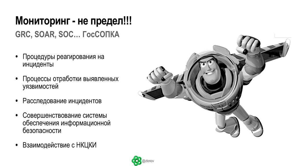 @zlonov GRC, SOAR, SOC… ГосСОПКА • Процедуры ре...
