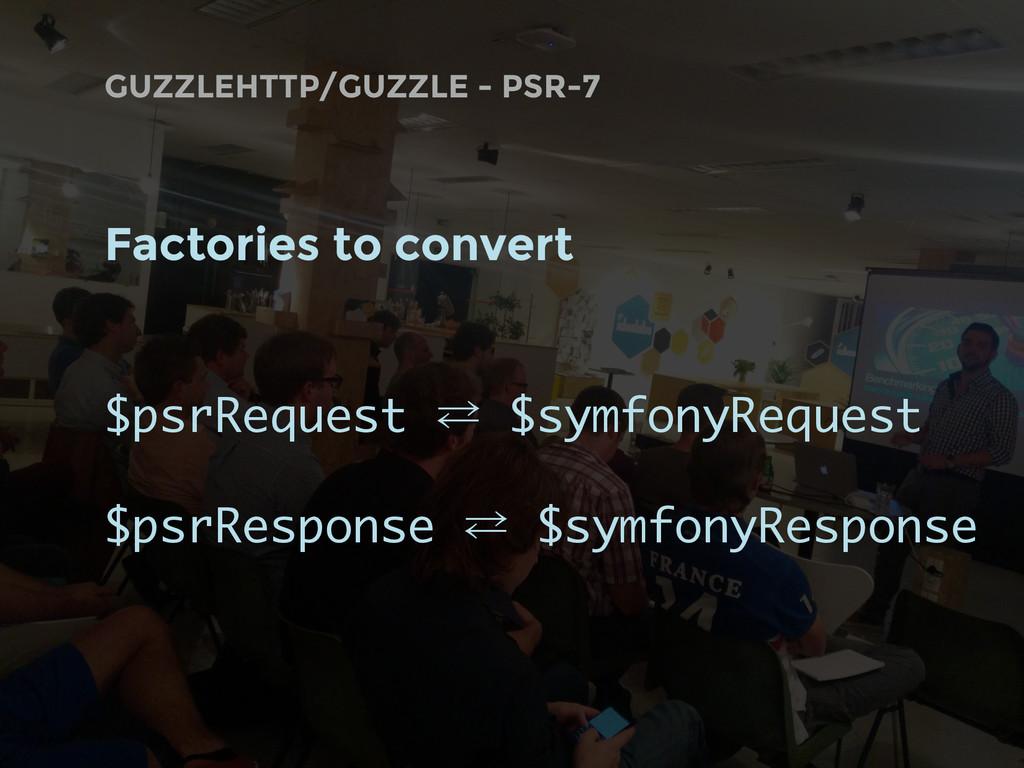 GUZZLEHTTP/GUZZLE - PSR-7 Factories to convert ...