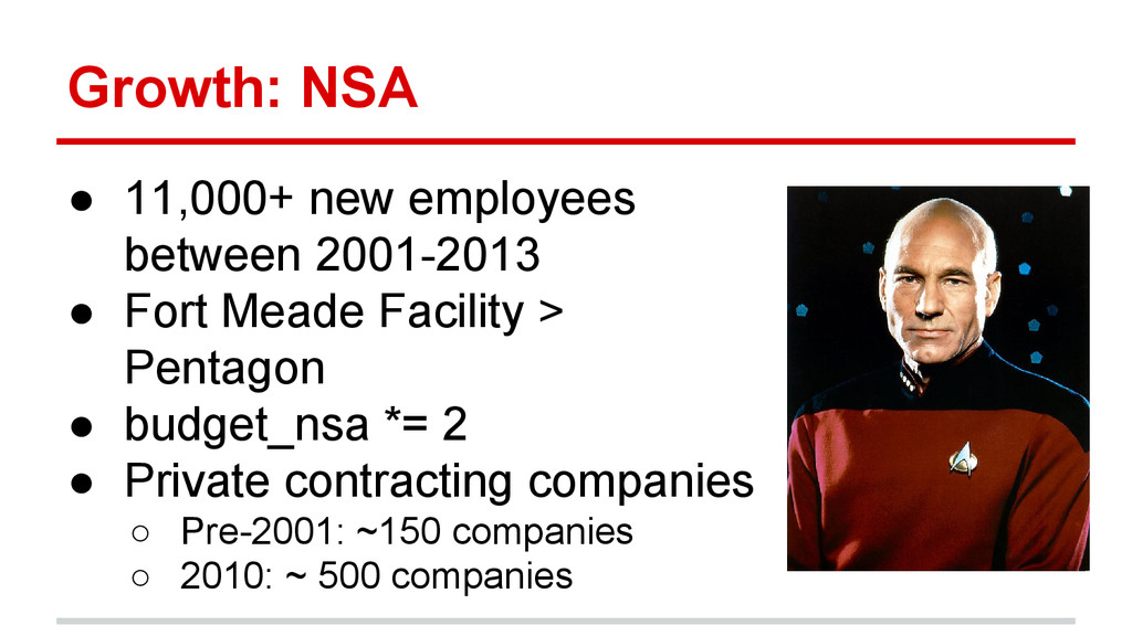 Growth: NSA ● 11,000+ new employees between 200...