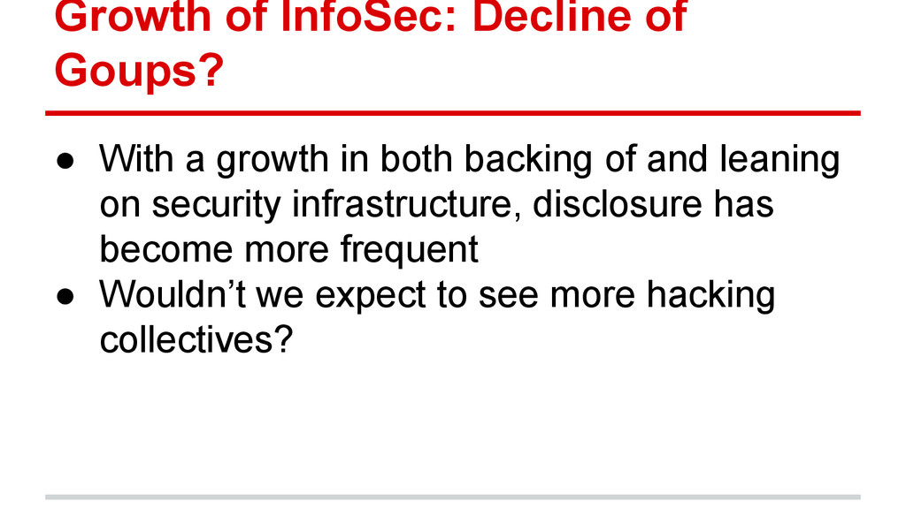 Growth of InfoSec: Decline of Goups? ● With a g...
