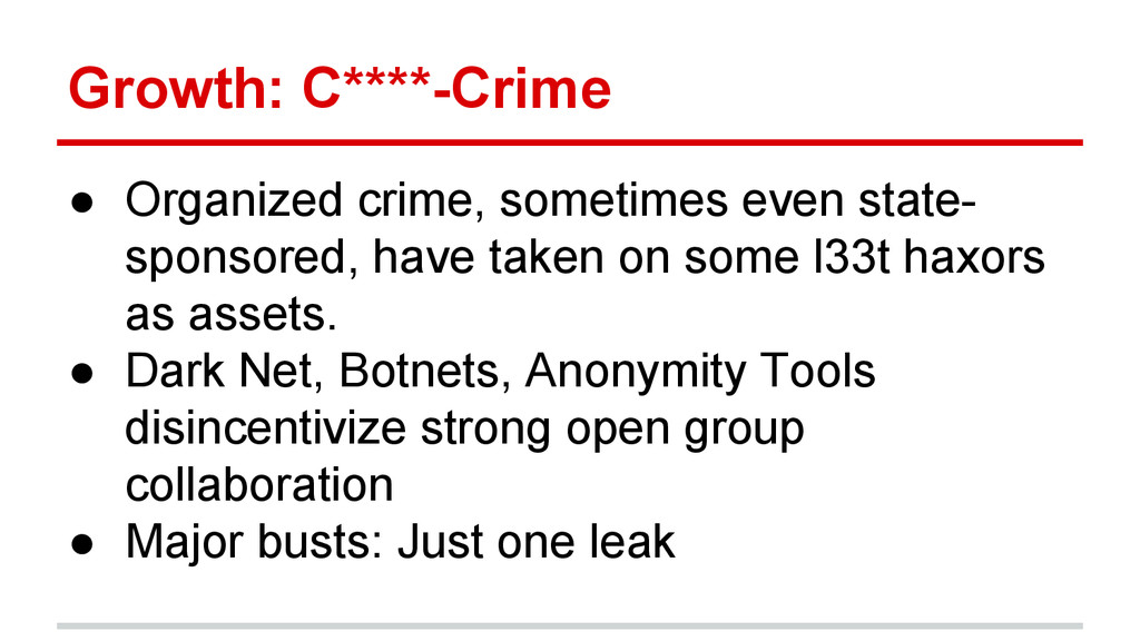 Growth: C****-Crime ● Organized crime, sometime...