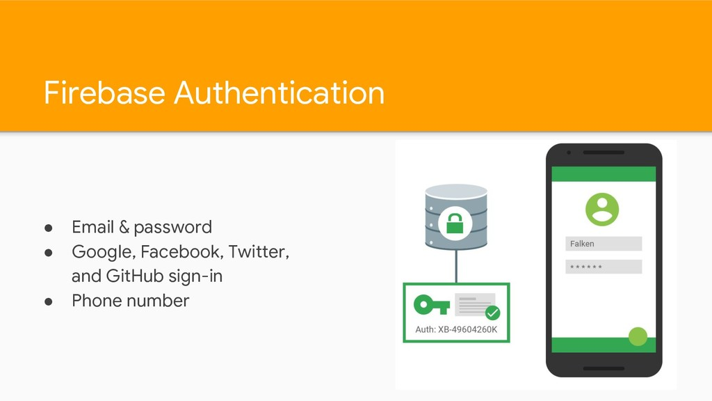 Firebase Authentication ● Email & password ● Go...