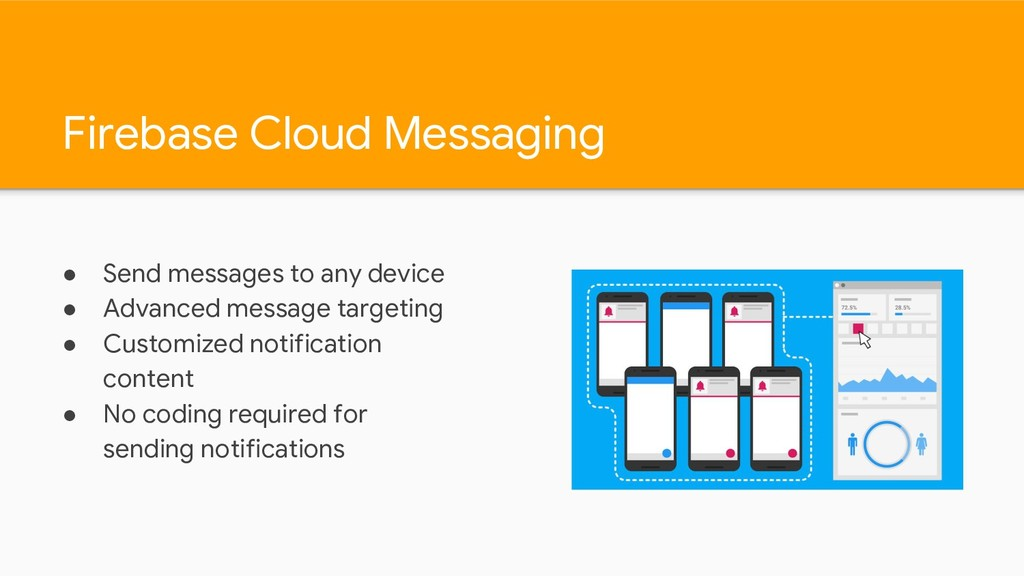 Firebase Cloud Messaging ● Send messages to any...