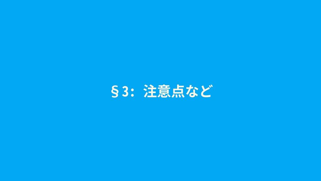 §3: 注意点など