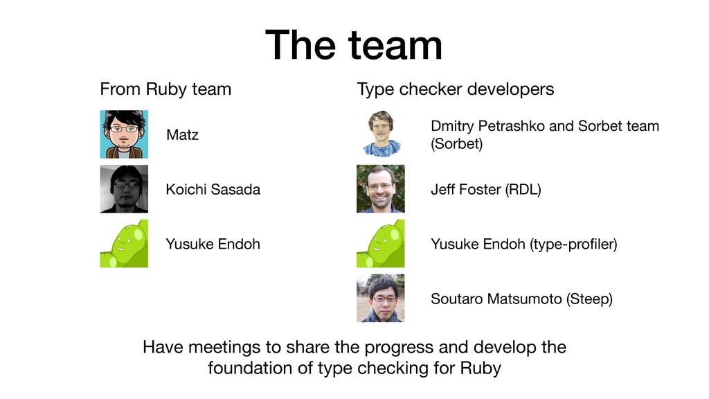 The team From Ruby team Type checker developers...