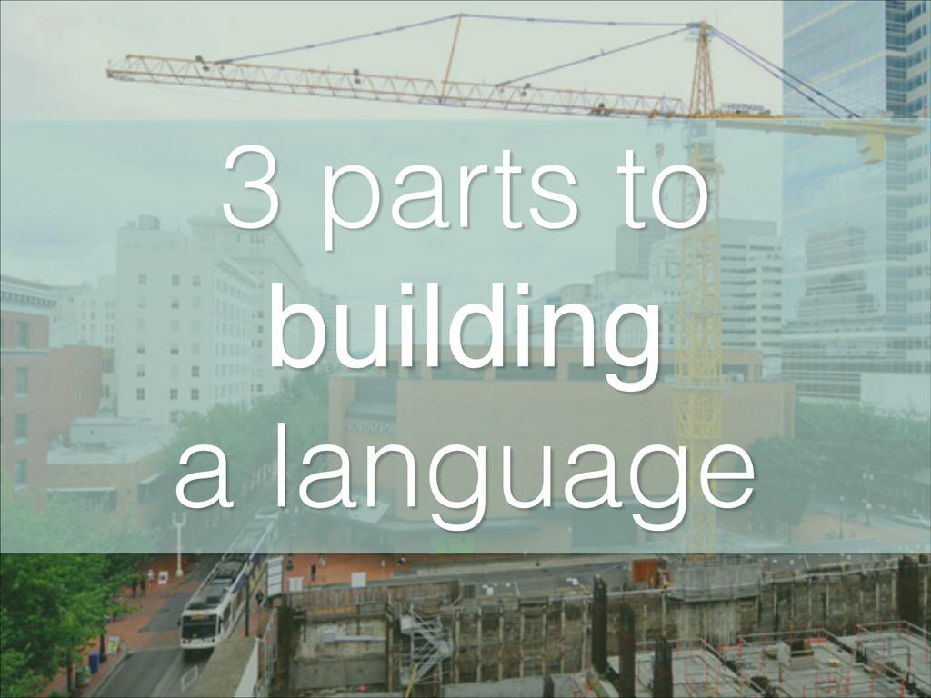 3 parts to building! a language