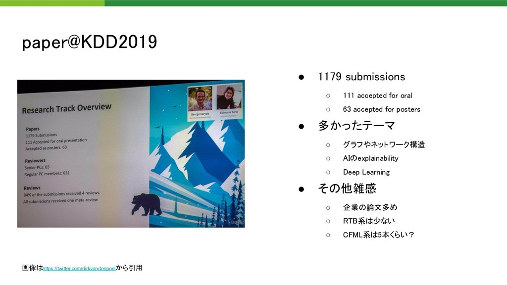 paper@KDD2019 ● 1179 submissions ○ 111 accept...