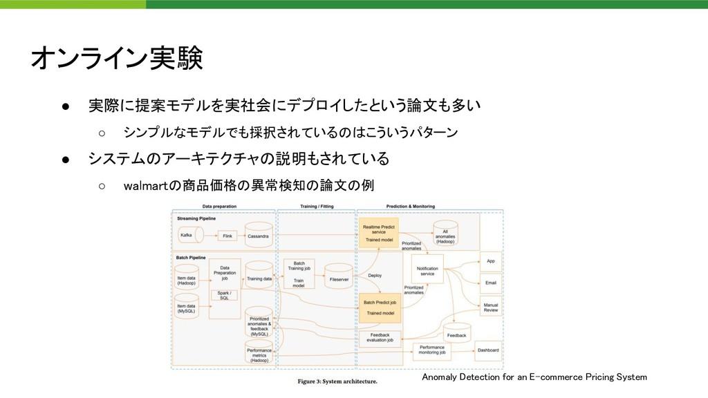 オンライン実験 ● 実際に提案モデルを実社会にデプロイしたという論文も多い  ○ シンプル...