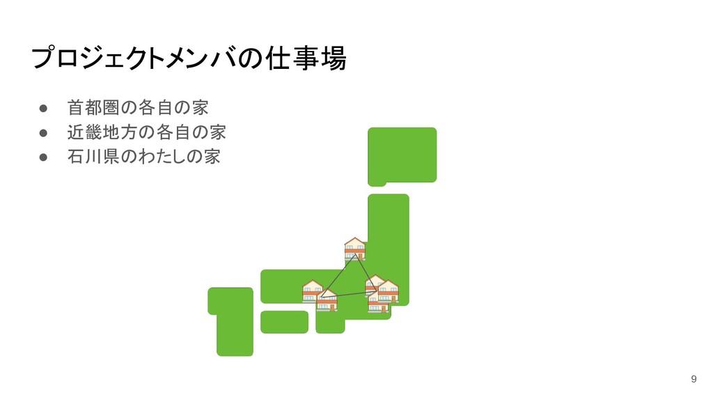 プロジェクトメンバの仕事場 ● 首都圏の各自の家 ● 近畿地方の各自の家 ● 石川県のわたしの...