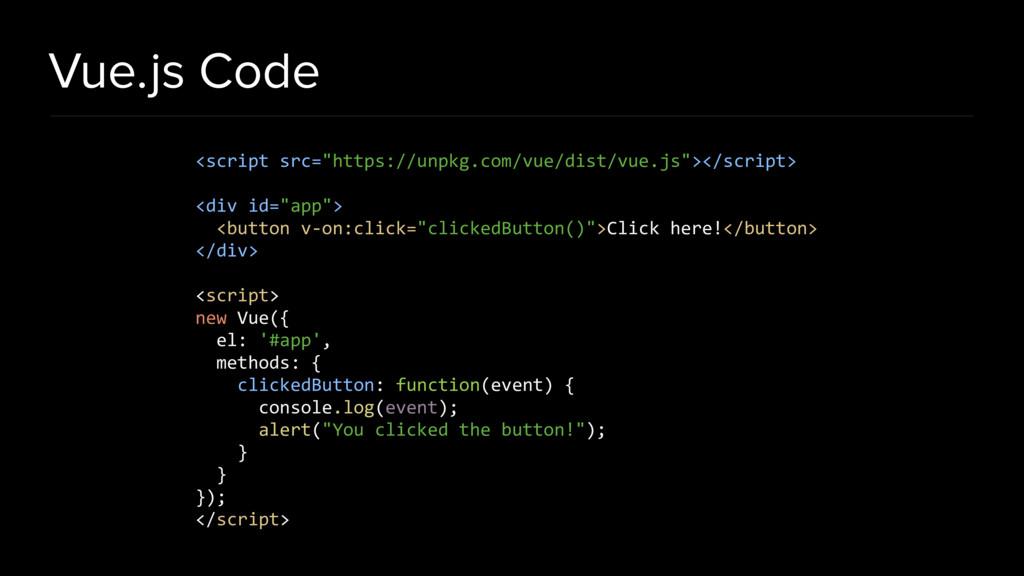 "Vue.js Code <script src=""https://unpkg.com/vue/..."