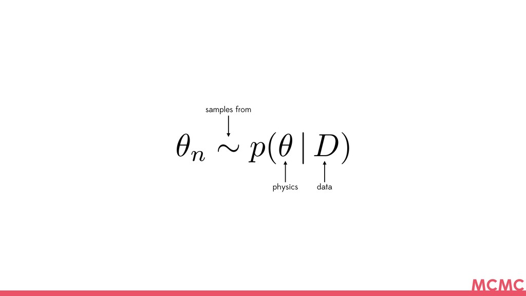 ✓n ⇠ p(✓   D) samples from physics data MCMC