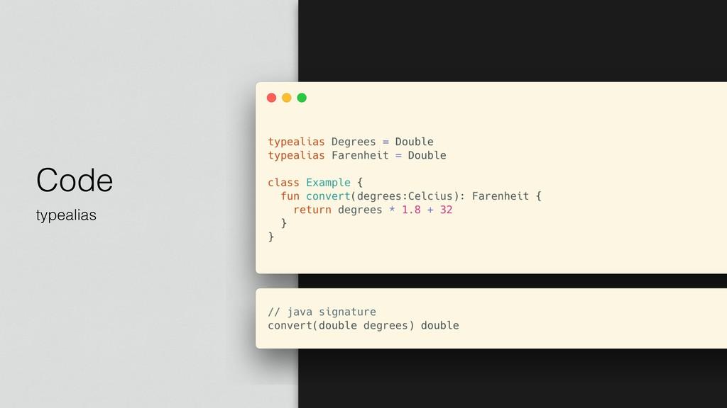 Code typealias