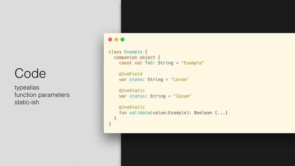 Code typealias function parameters static-ish