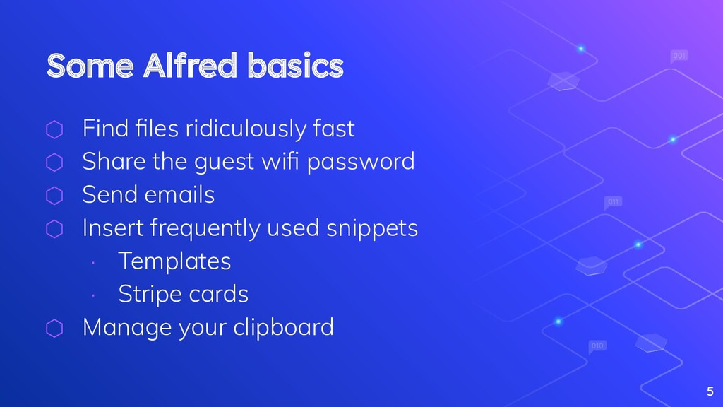 Some Alfred basics ⬡ Find files ridiculously fas...