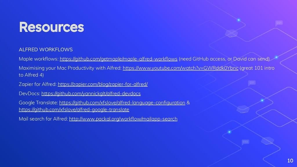 Resources ALFRED WORKFLOWS Maple workflows: http...