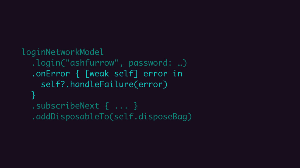 "loginNetworkModel .login(""ashfurrow"", password:..."