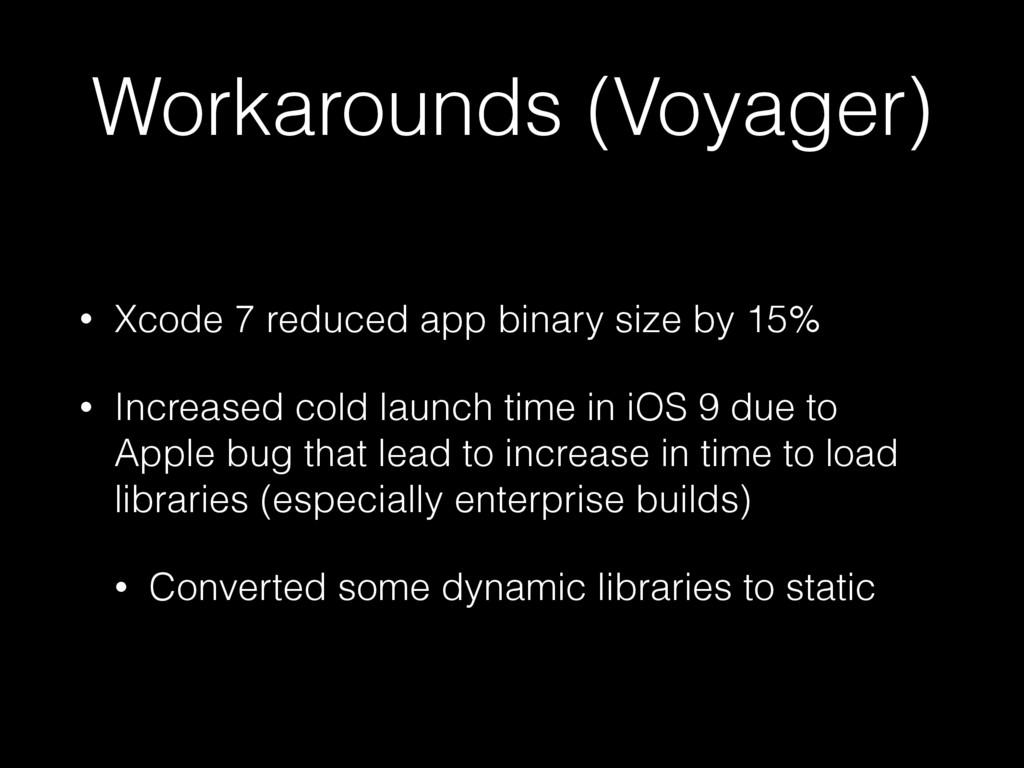 Workarounds (Voyager) • Xcode 7 reduced app bin...