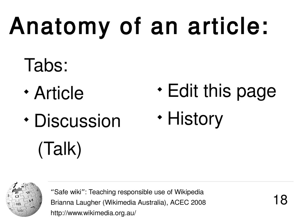 """Anatomy of an article: """"Safe wiki : Teaching re..."""