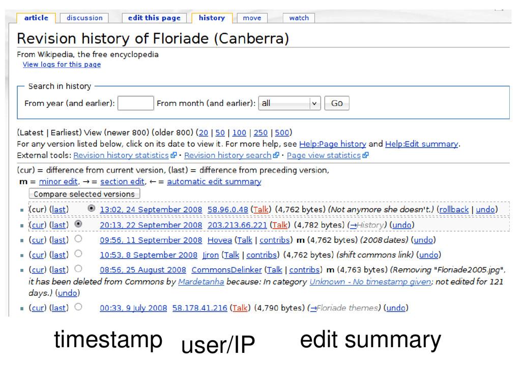 timestamp user/IP edit summary