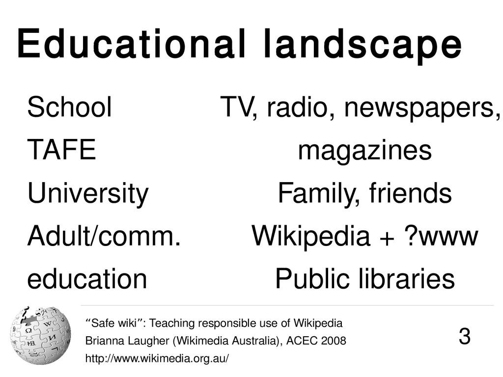 "Educational landscape ""Safe wiki : Teaching res..."