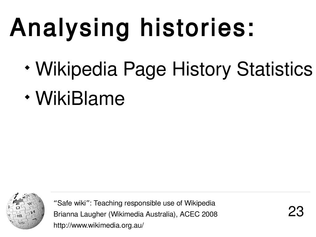 """Analysing histories: """"Safe wiki : Teaching resp..."""