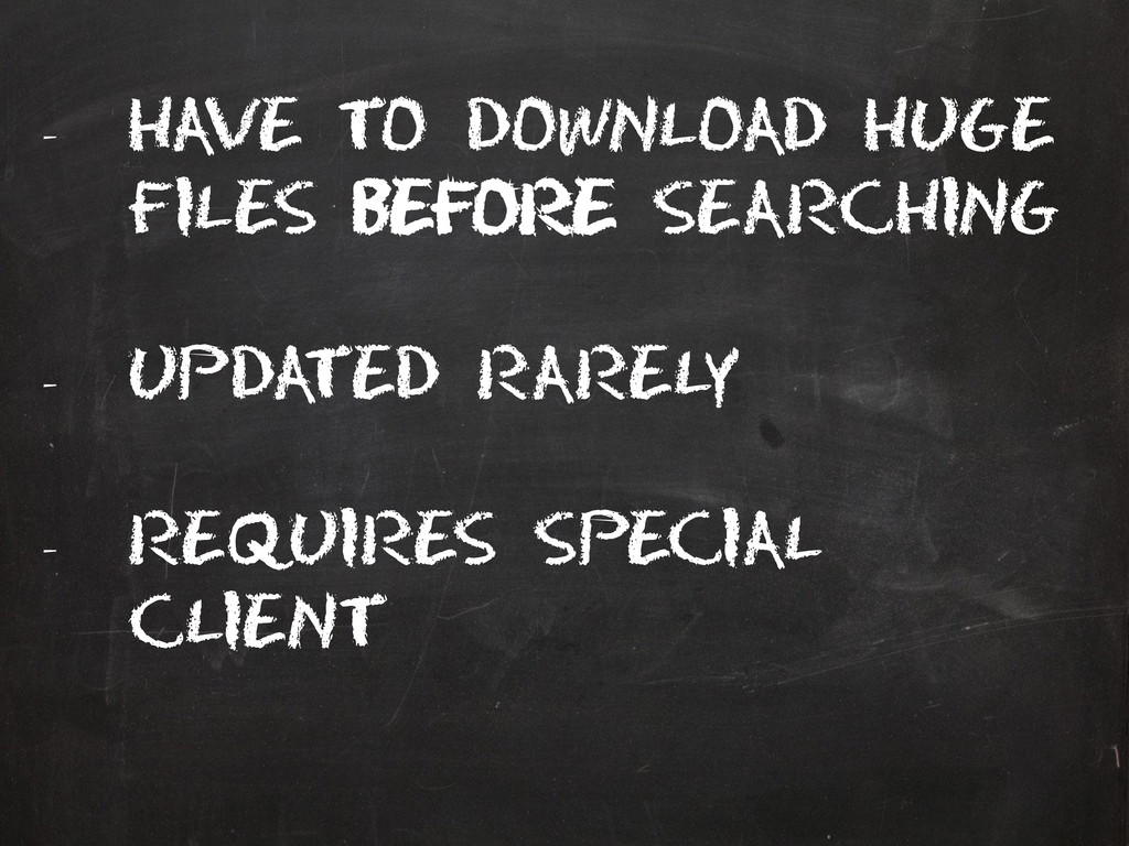 - Have to download huge files Before Searching ...