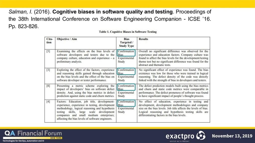 Salman, I. (2016). Cognitive biases in software...