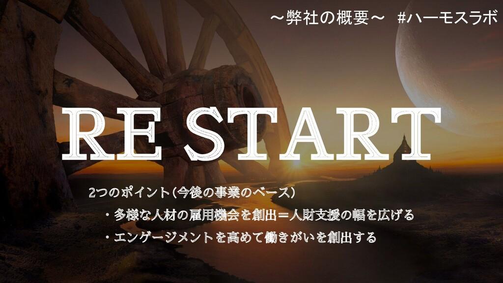 RE START  2つのポイント(今後の事業のベース)   ・多様な人材の雇用機会を創出=人...