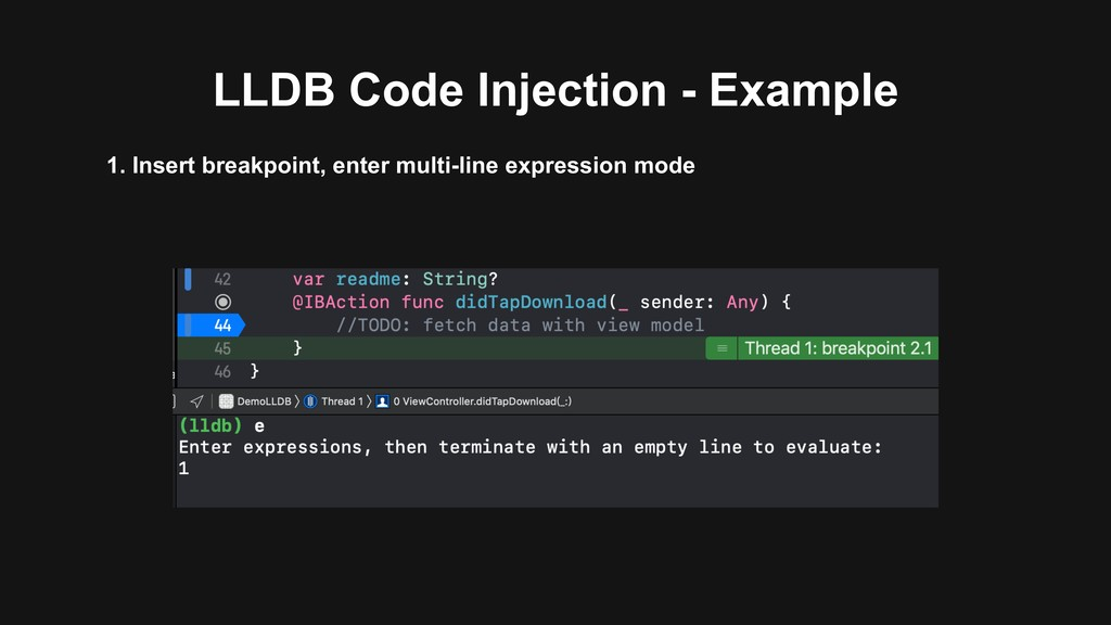 LLDB Code Injection - Example 1. Insert breakpo...