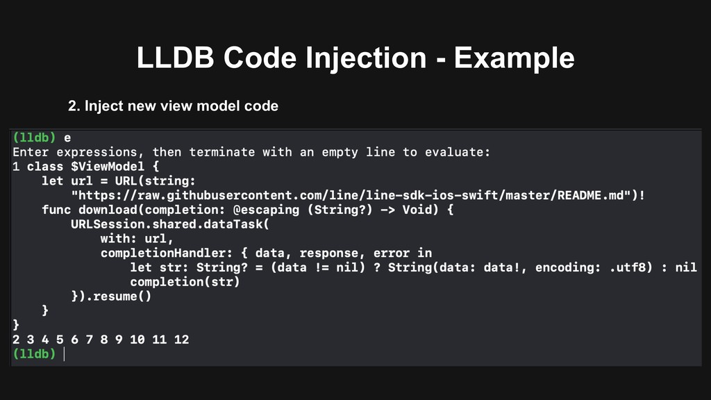 LLDB Code Injection - Example 2. Inject new vie...