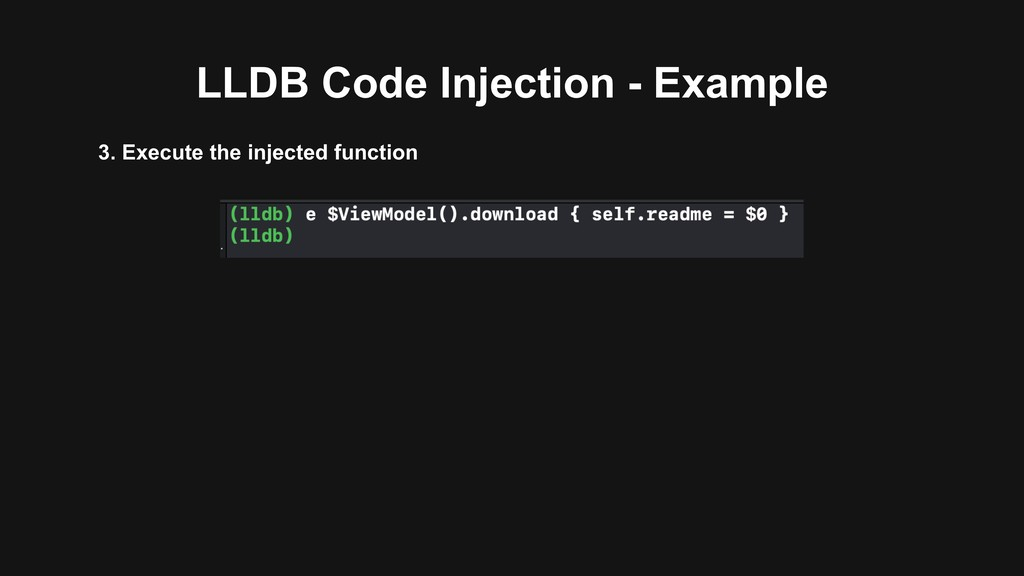 LLDB Code Injection - Example 3. Execute the in...