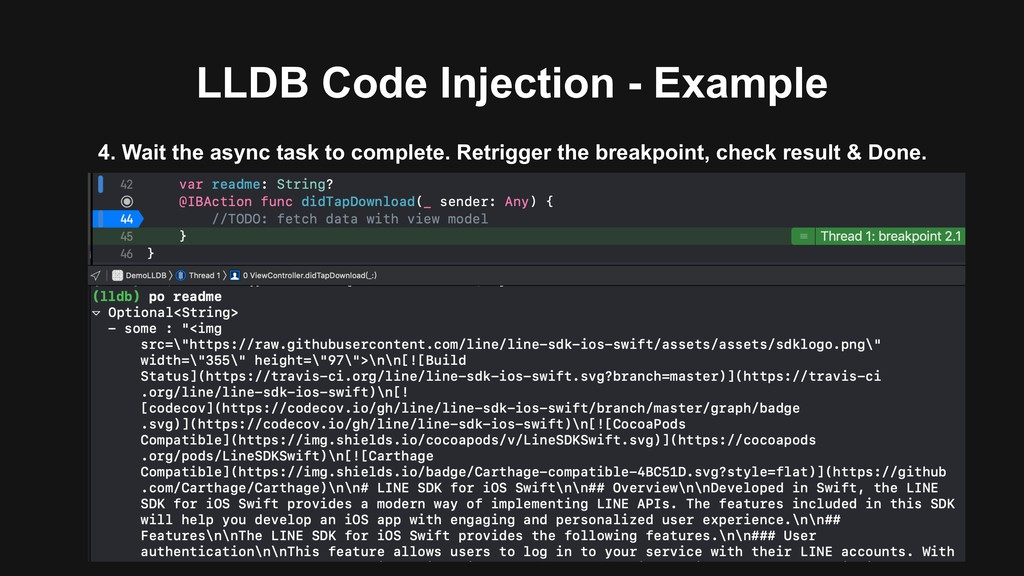 LLDB Code Injection - Example 4. Wait the async...