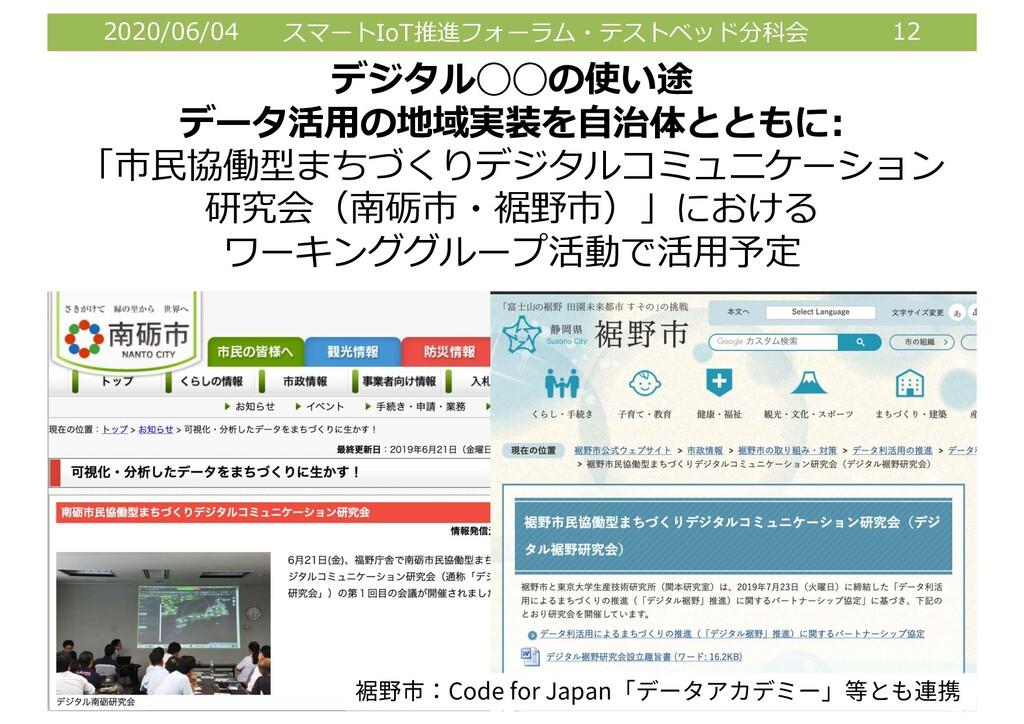 2020/06/04 スマートIoT推進フォーラム・テストベッド分科会 12 デジタル◯◯の使...