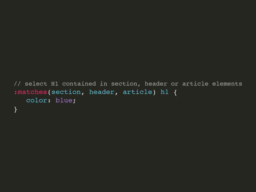 // select H1 contained in section, header or ar...