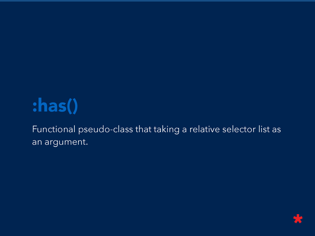 Functional pseudo-class that taking a relative ...