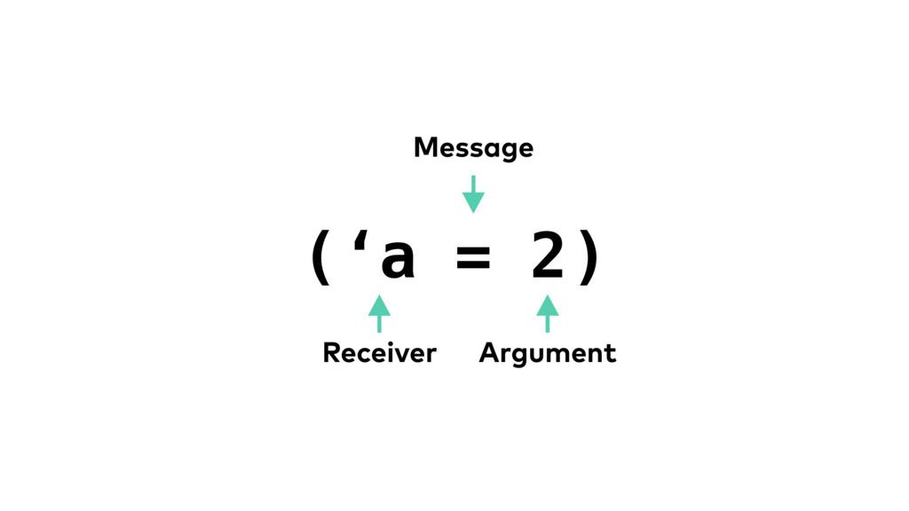 ('a = 2) Receiver Argument Message