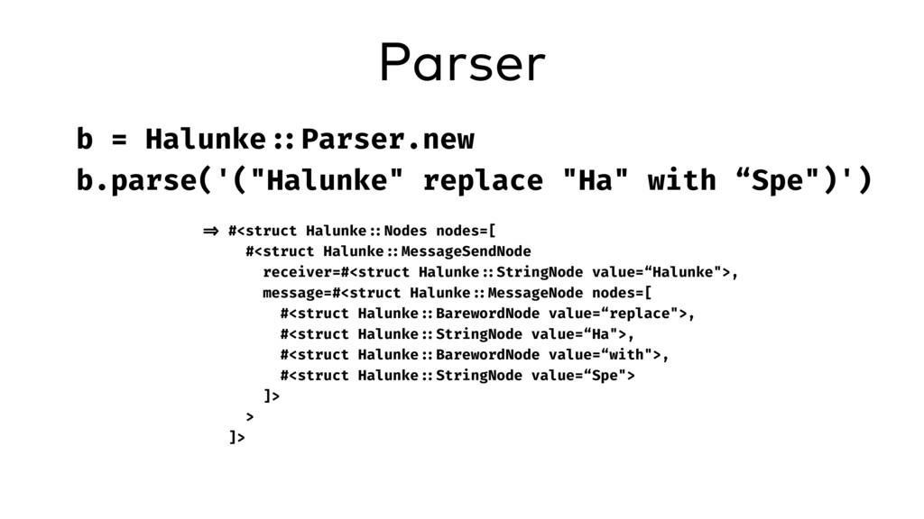 "Parser b = Halunke ::Parser.new b.parse('(""Halu..."