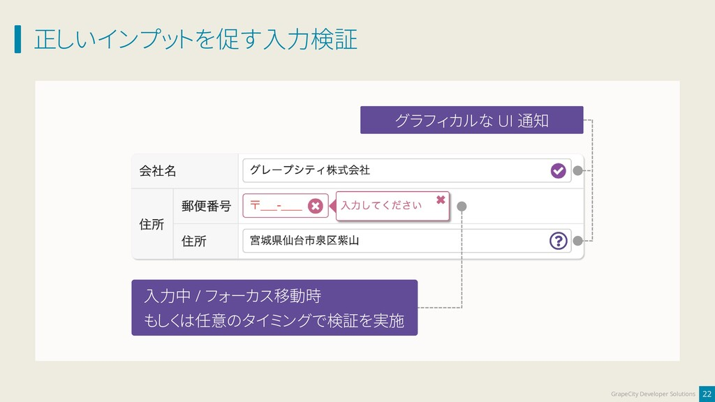 正しいインプットを促す入力検証 22 GrapeCity Developer Solution...
