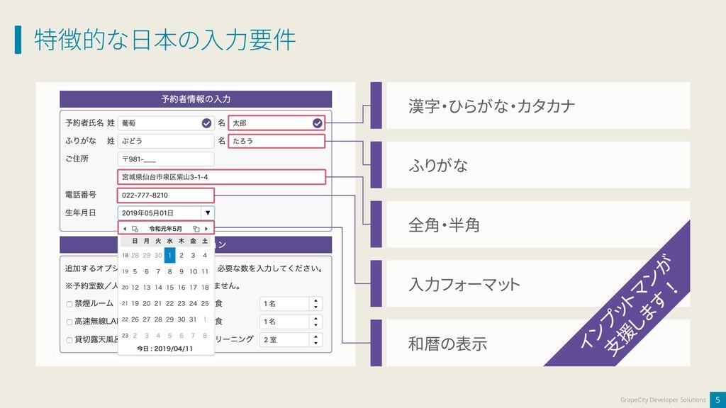 特徴的な日本の入力要件 5 GrapeCity Developer Solutions 和暦の...