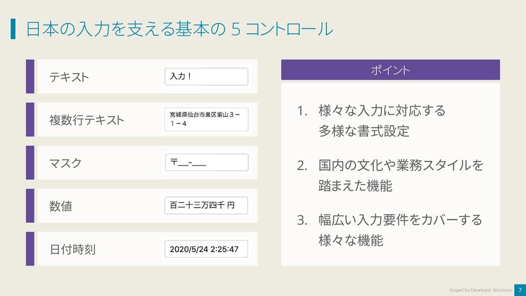 日本の入力を支える基本の 5 コントロール 7 GrapeCity Developer Sol...