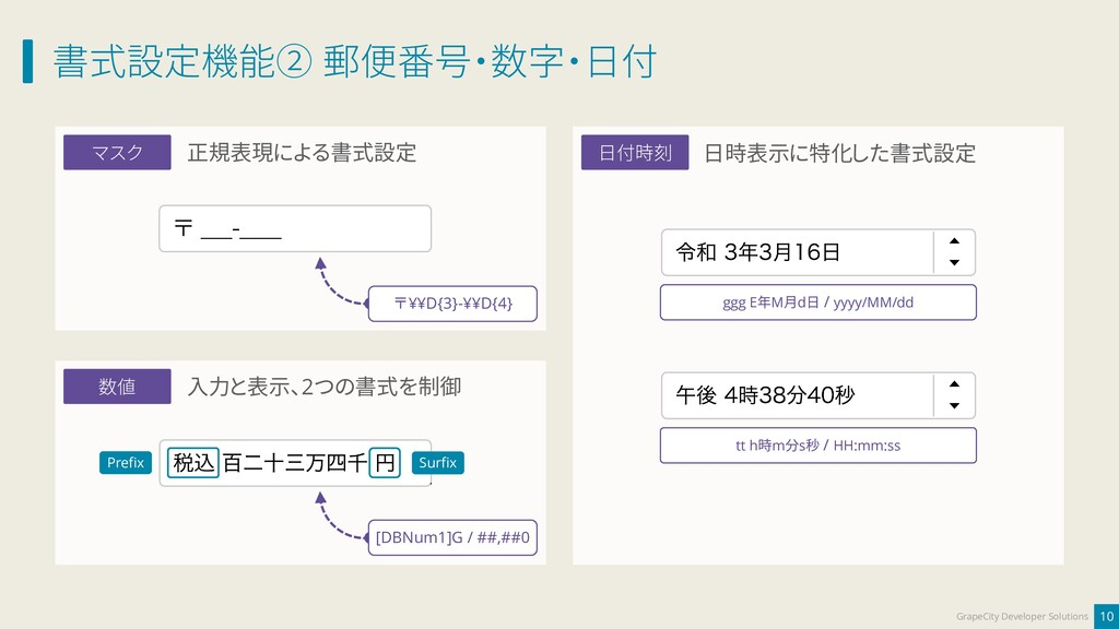 書式設定機能② 郵便番号・数字・日付 10 GrapeCity Developer Solut...
